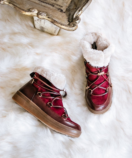 Marshmallow 01 burgundy Fur Lined Short Après-Ski Boot