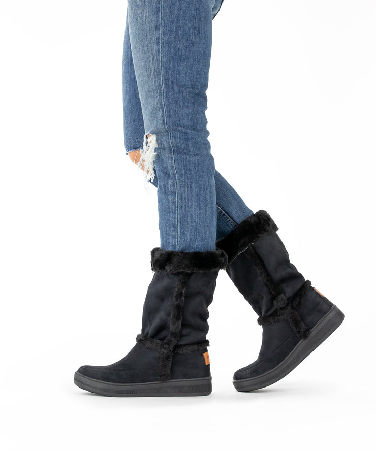 Marshmallow 04 black Sheepskin Suede Cold Weather Boot