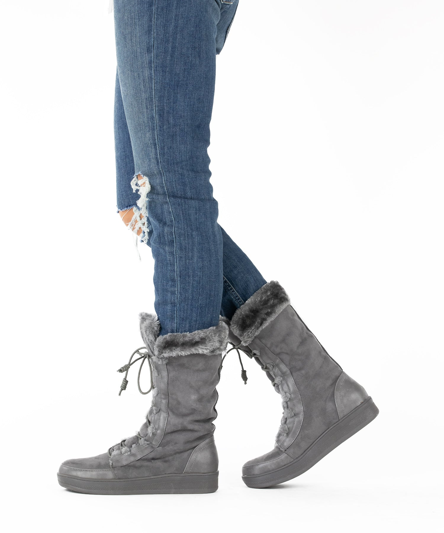 Marshmallow 02 grey Lace-Up Fur Trimmed Après-Ski Boot