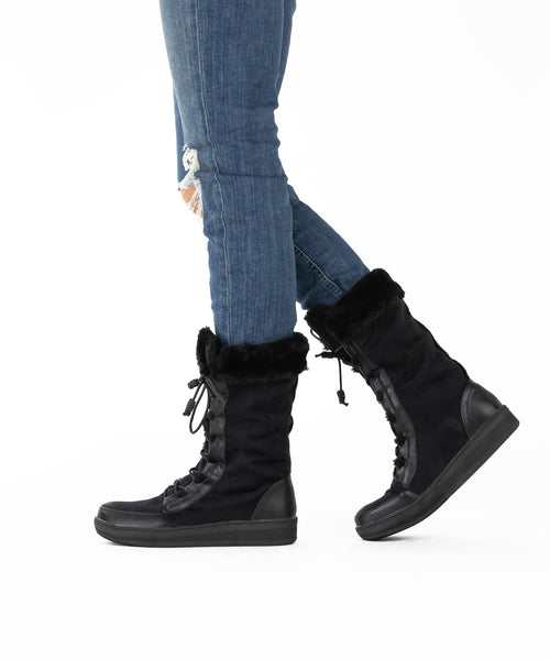Marshmallow 02 black Lace-Up Fur Trimmed Après-Ski Boot