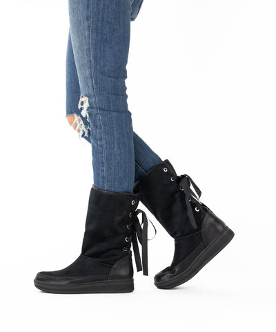 Marshmallow 03 black Ribbon Tied Suede Boot