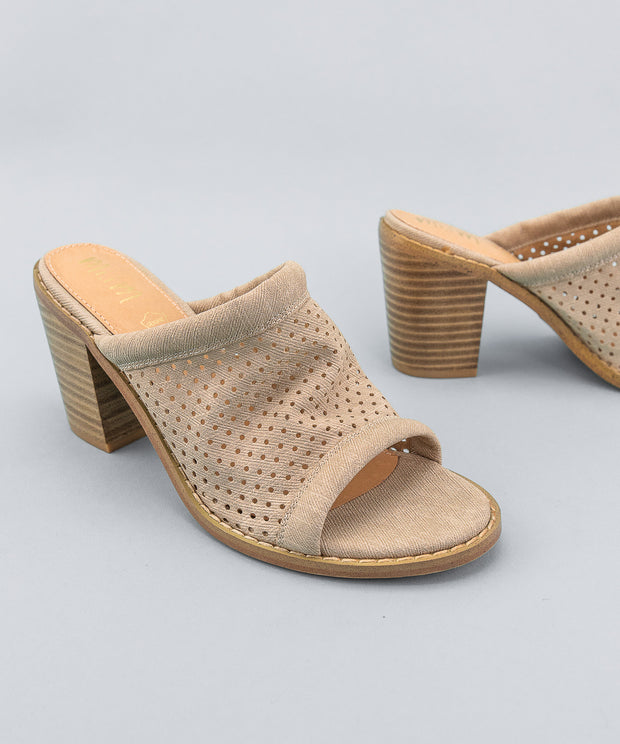The Meadow Taupe | Funky Perforated Wedge - FINAL SALE