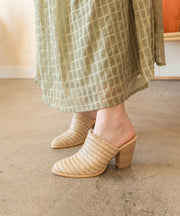 The Melanie Nude | Basket Weave Block Heel