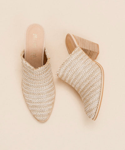The Melanie Beige | Basket Weave Block Heel - FINAL SALE