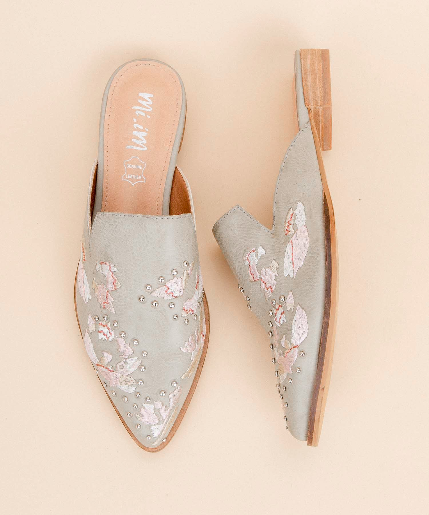 Miranda mint-grey Floral Embroidered Pointed Mule