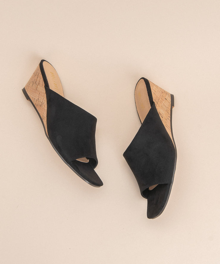 The Naomi Black | Suede Wedge