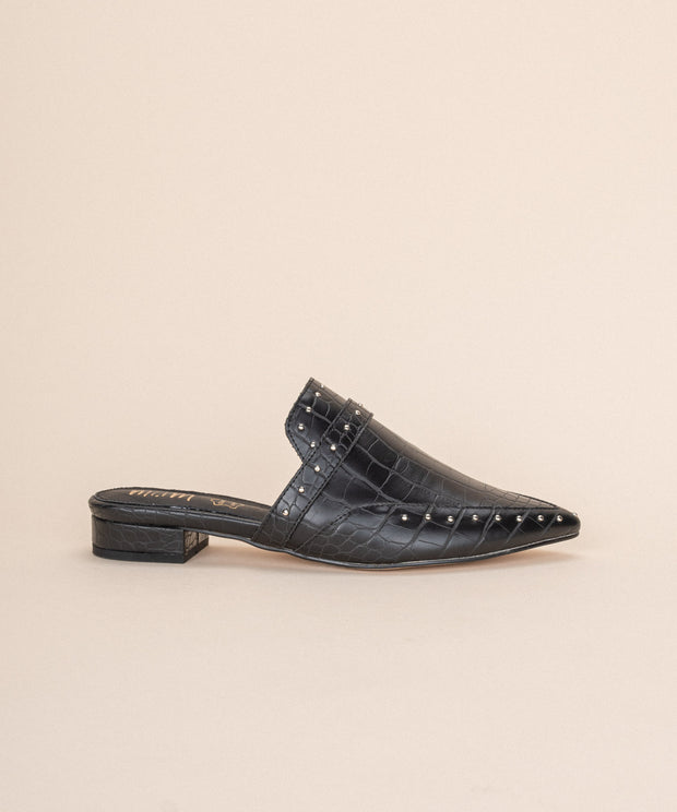 Natasha black Pointed-Toe Crocodile Mule