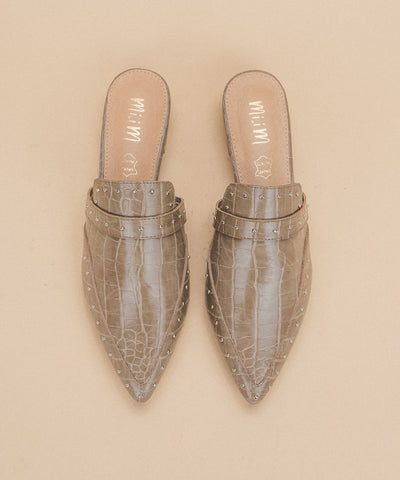 Natasha khaki Pointed-Toe Crocodile Mule