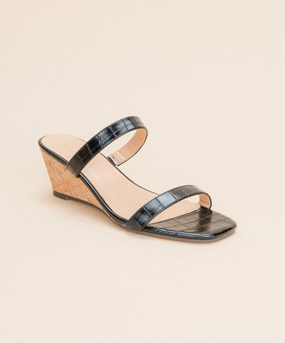 Nate Black | Double Strap Wedge Sandal