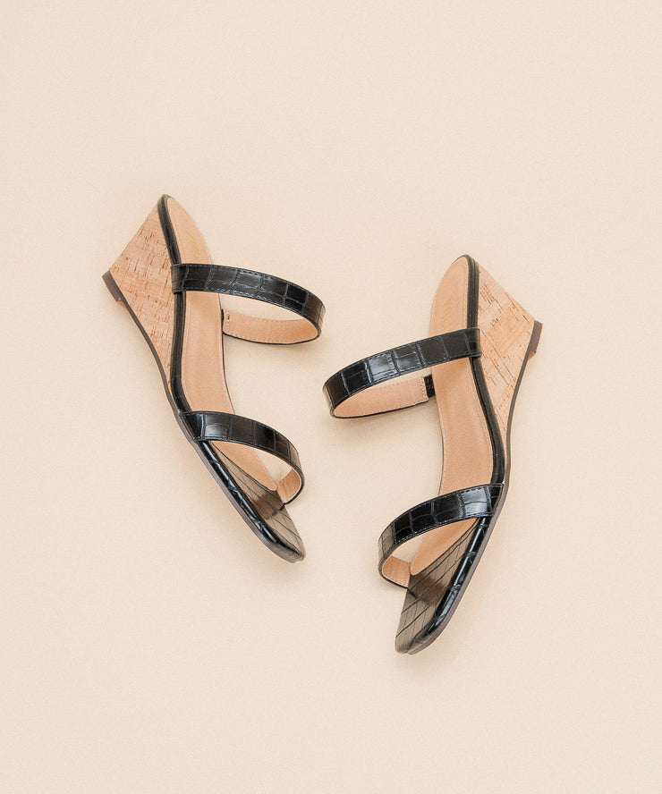 The Nate Black | Double Strap Wedge Sandal