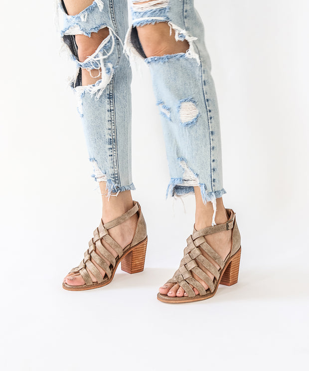 The Noelle | Braided Strappy Heel - Khaki