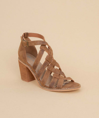 Noelle brown Braided Strappy Heel