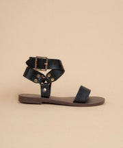 Norman black Studded Ankle Wrap Sandal