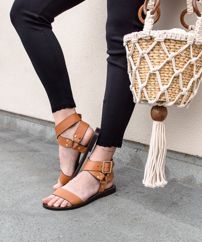 Norman camel Studded Ankle Wrap Sandal