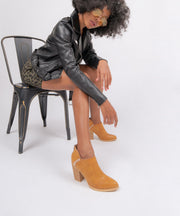 Paradise camel Western Distressed Ankle Bootie