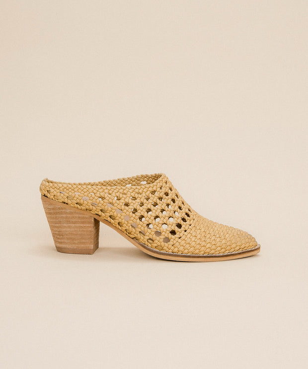 Paris yellow Hand-braided Woven Mules