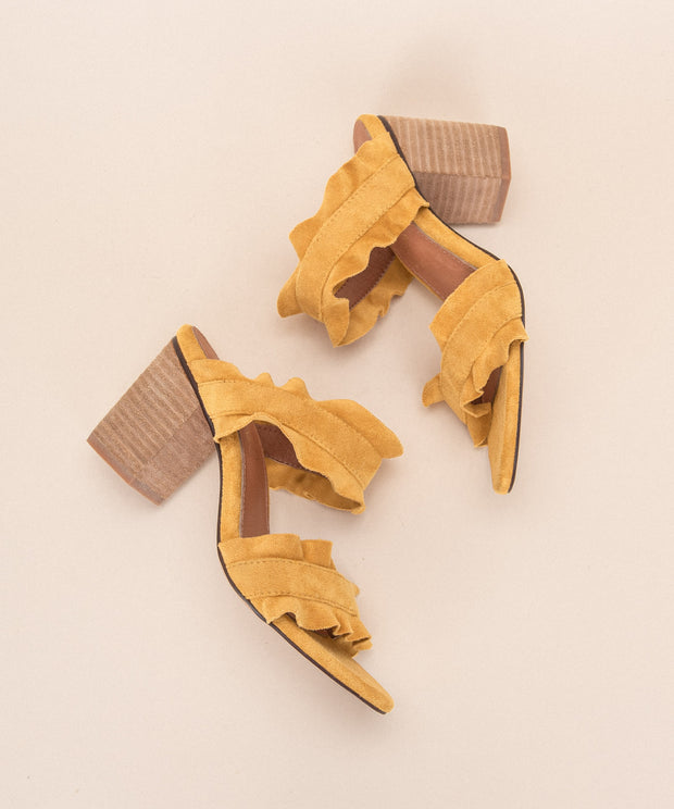 Rachel yellow Casual Ruffle Block Heel