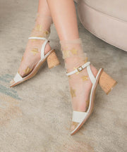 Renee White One-Band Cork Heel
