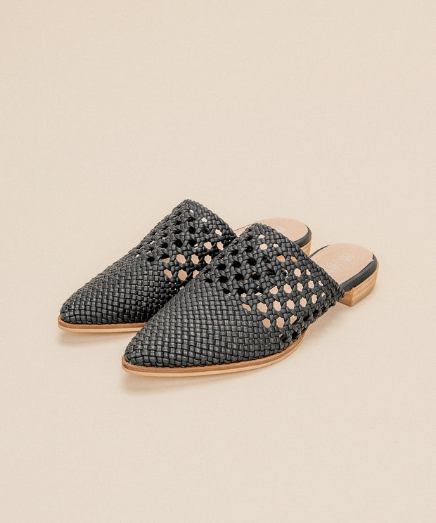 Rhea black Basket Weave Pointed Mules