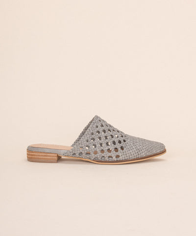 Rhea grey Basket Weave Pointed Mules