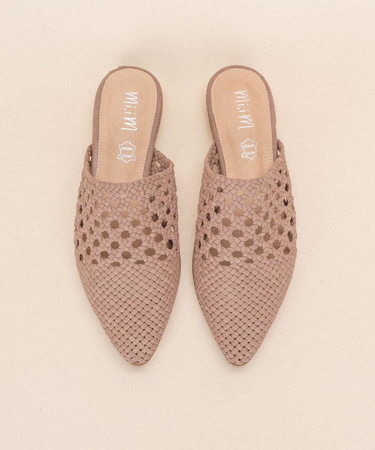 Rhea rose Basket Weave Pointed Mules