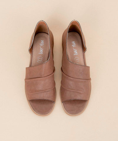 Riley coffee Asymmetrical Open-Toe Flat