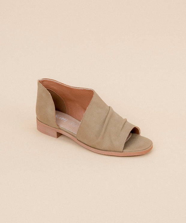 Riley khaki Asymmetrical Open-Toe Flat