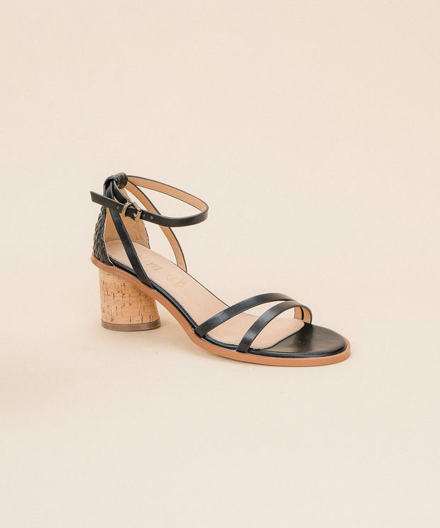 Roselyn Black | Strappy Cork Heel