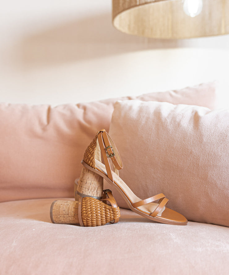 Roselyn Camel | Strappy Cork Heel