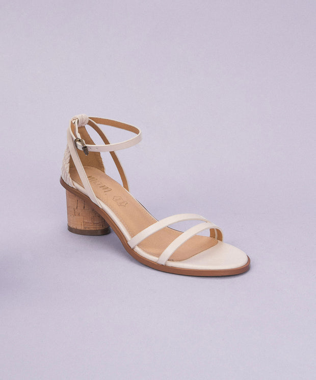 Roselyn Ivory | Strappy Cork Heel