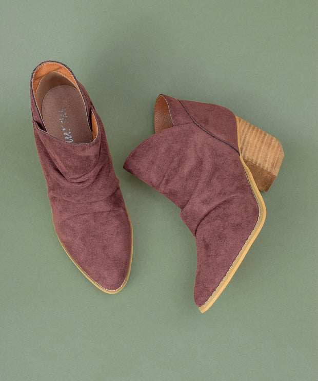 Rosie wine Simple Suede Bootie