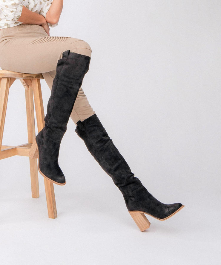 Saint grey Handmade Suede Tall Boot