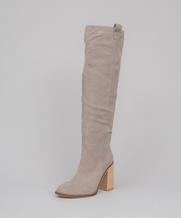 Saint taupe Handmade Suede Tall Boot