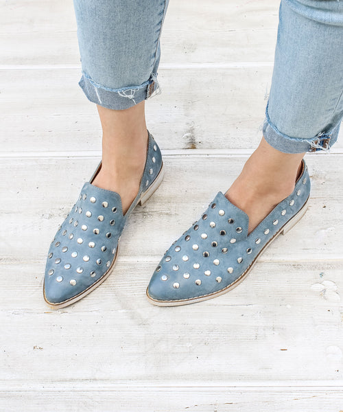Scottie blue Button Stud Loafer