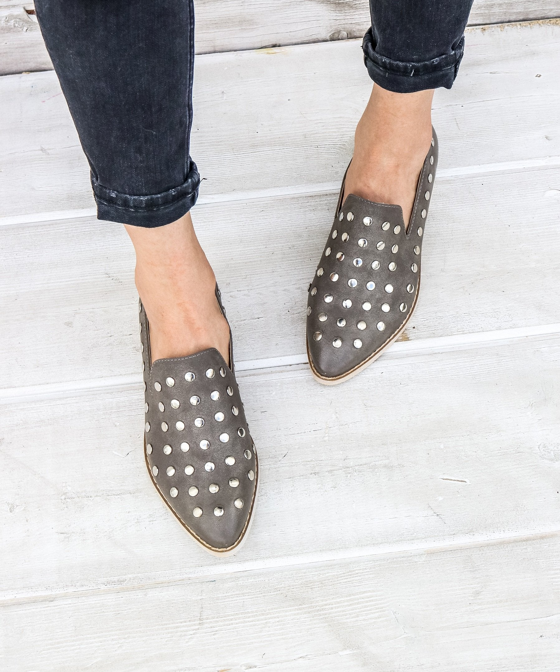 Scottie grey Button Stud Loafer