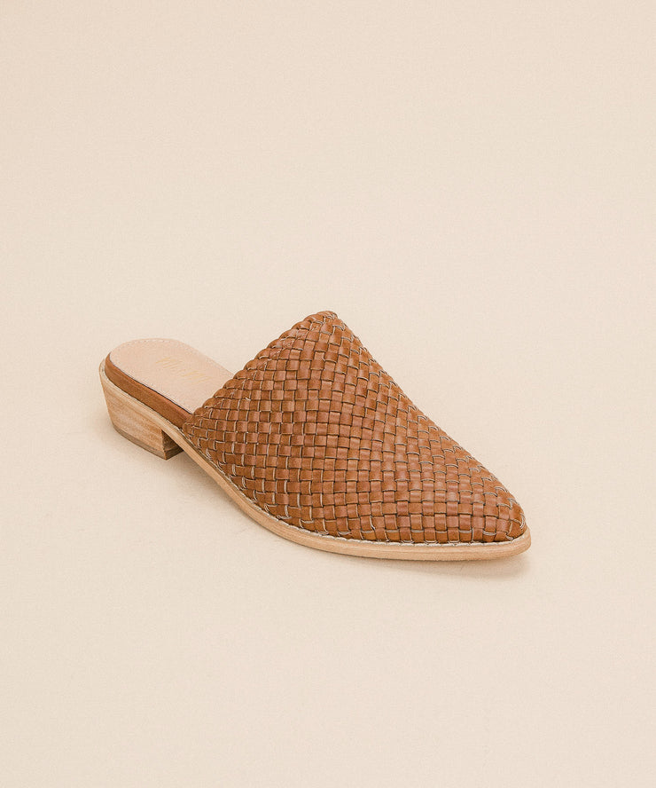 Selene brown Basked Woven Hand-braided Mule
