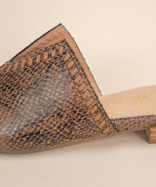 Sophia Brown/Snake V-Cut Pointed Mule