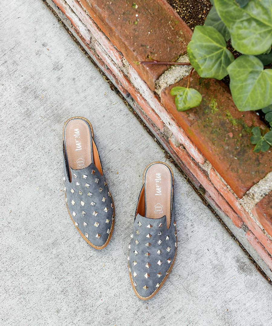 Stuart grey Studded Mule