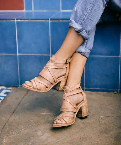 The Lenna | Shredded Ankle Strap Block Heel