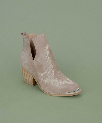 Tess-05 khaki Embroidered V-Cut Bootie