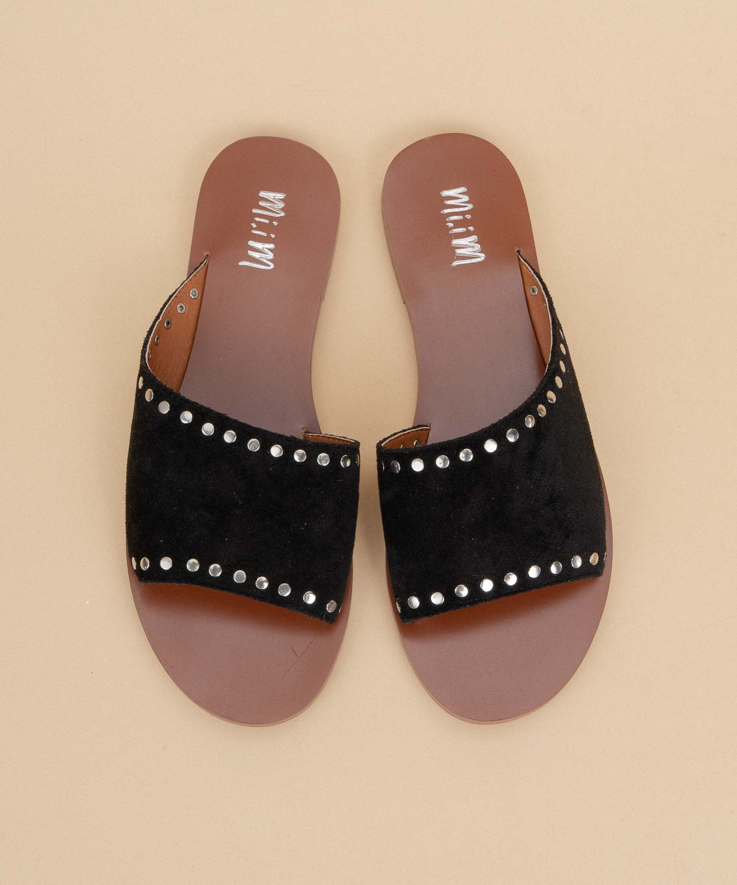 Treviso black Studded Asymmetrical Slide