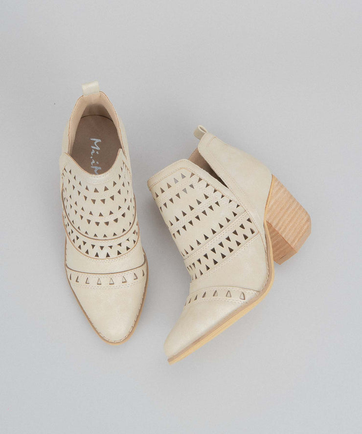 Trixi beige Triangle Laser Cut-Out Bootie