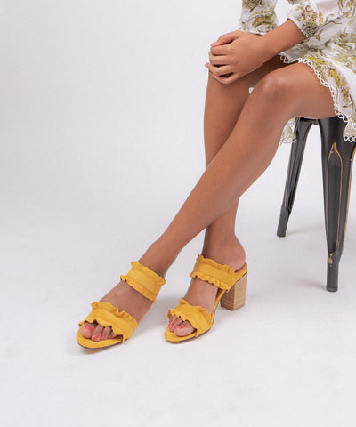 The Rachel | Casual Ruffle Block Heel - FINAL SALE