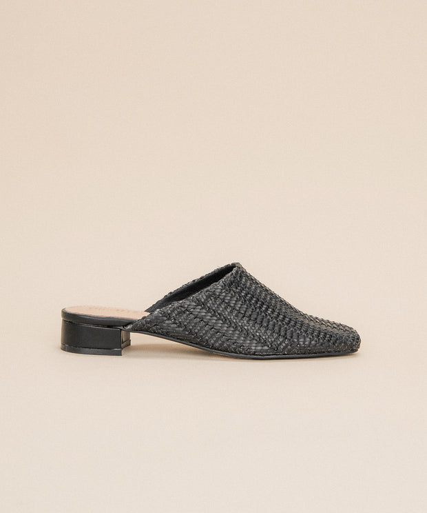 Valen black Faux Leather Woven Mule