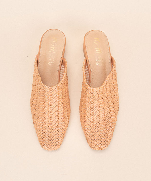 Valen coral Faux Leather Woven Mule