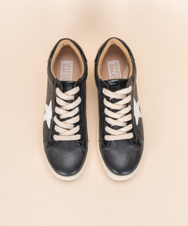 Haley | Star Print Sneaker - Black