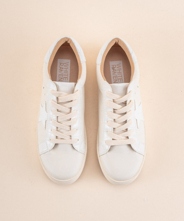 Haley | Star Print Sneaker - White