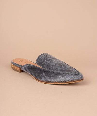 Zink grey Faux Calf Hide Pointed Mules