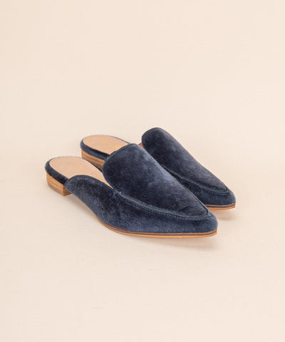 Zink navy Faux Calf Hide Pointed Mules