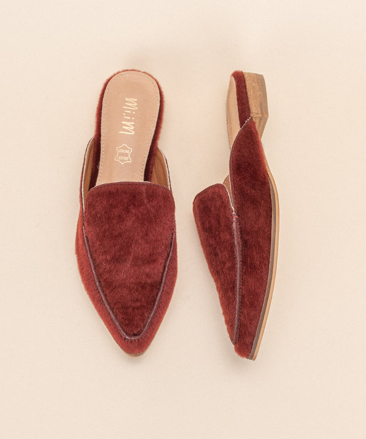 Zink wine Faux Calf Hide Pointed Mules